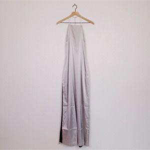 Capulet T-Back Side Slit Satin Slip Maxi Dress